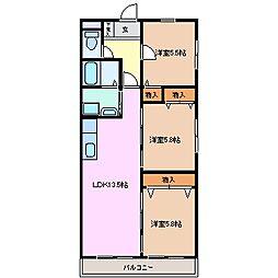 プレジール尾平 A棟[3階]の間取り