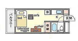 家具・家電付き ラ・レジダンス・ド・天神 B[2階]の間取り