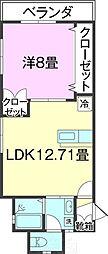 (仮)T様共同住宅(103) 1階1LDKの間取り