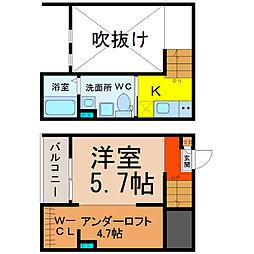 愛知県名古屋市守山区西川原町の賃貸アパートの間取り