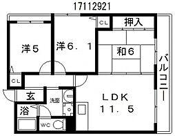 大阪府大阪市東住吉区矢田2丁目の賃貸アパートの間取り