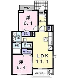 愛知県名古屋市天白区島田4丁目の賃貸アパートの間取り