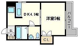 川ビル 4階1DKの間取り