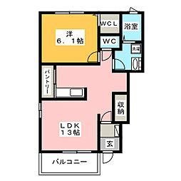 静岡県静岡市駿河区石田3丁目の賃貸アパートの間取り