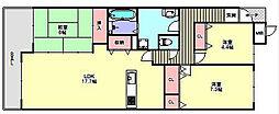 兵庫県神戸市北区緑町8丁目の賃貸マンションの間取り