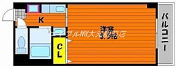 岡山県岡山市南区下中野の賃貸マンションの間取り