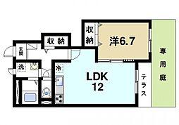 奈良県奈良市学園大和町6丁目の賃貸アパートの間取り