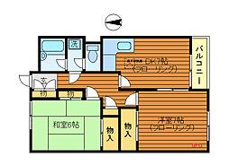 東京都三鷹市下連雀2丁目の賃貸アパートの間取り