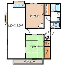 埼玉県久喜市西大輪3丁目の賃貸アパートの間取り