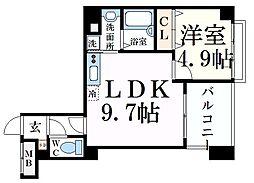 JR東海道・山陽本線 摂津本山駅 徒歩9分の賃貸マンション 4階1LDKの間取り