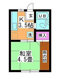 第1坂上荘[1-D号室]の間取り