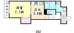 プレ上本町[502号室]の間取り