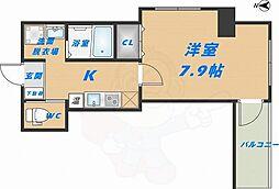 みおつくし高井田 3階1Kの間取り
