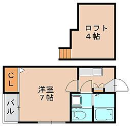 コンフォートベネフィス箱崎11[2階]の間取り