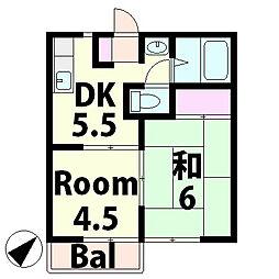 滋賀県湖南市岩根の賃貸アパートの間取り