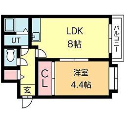 北海道札幌市北区北二十四条西2丁目の賃貸マンションの間取り
