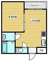 大阪府大阪市住之江区柴谷2丁目の賃貸マンションの間取り