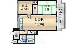 北大阪急行電鉄 千里中央駅 徒歩10分の賃貸マンション 2階2LDKの間取り