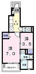 宮城県名取市田高字原の賃貸アパートの間取り