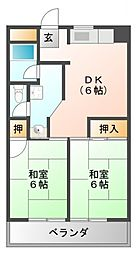 香川花園ハイツ[4階]の間取り