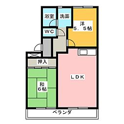 ハイツフローラI[1階]の間取り