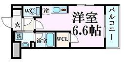 甲子園ガーデンズ 1階ワンルームの間取り