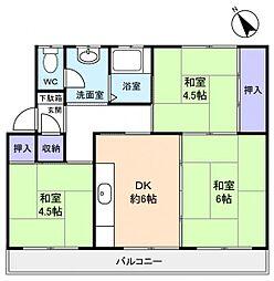 高根台団地348号棟[4階]の間取り