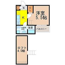 愛知県名古屋市守山区小幡南1丁目の賃貸アパートの間取り