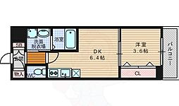 Osaka Metro御堂筋線 江坂駅 徒歩8分の賃貸マンション 4階1DKの間取り