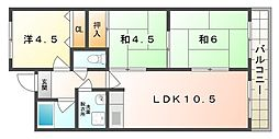 ルーセント江端 1階3DKの間取り