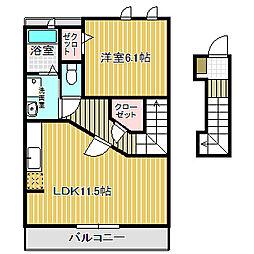 愛知県名古屋市港区宝神5丁目の賃貸アパートの間取り