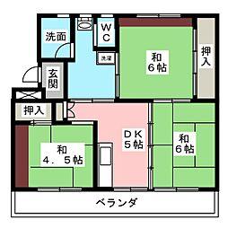 ビレッジハウス茄子川1号棟[4階]の間取り