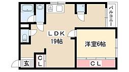 愛知県名古屋市昭和区菊園町3丁目の賃貸マンションの間取り