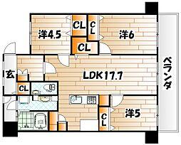 福岡県北九州市八幡東区中央3丁目の賃貸マンションの間取り