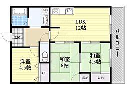 JR東海道・山陽本線 千里丘駅 徒歩19分の賃貸マンション 3階3LDKの間取り