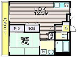 池亀マンション[202号室]の間取り