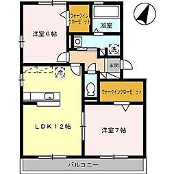 ロイヤルガーデン染地台 B[3階]の間取り