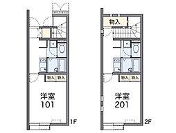JR長崎本線 鳥栖駅 バス14分 競馬場前下車 徒歩4分の賃貸アパート 2階1Kの間取り