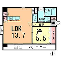 アイランドマンションIII 2階1LDKの間取り
