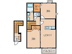 アーベンロートB[2階]の間取り