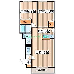 北海道札幌市東区北三十二条東18丁目の賃貸マンションの間取り