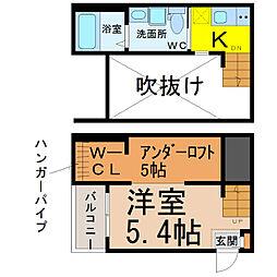 愛知県名古屋市南区呼続元町の賃貸アパートの間取り