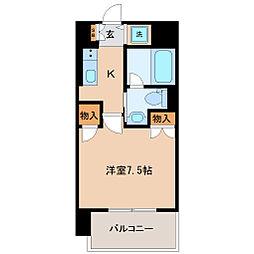 エルスタンザ広瀬通 RESIDENCE 8階1Kの間取り