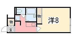 兵庫県姫路市飾磨区今在家4丁目の賃貸アパートの間取り