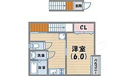 阪急今津線 甲東園駅 徒歩30分の賃貸アパート 2階1Kの間取り