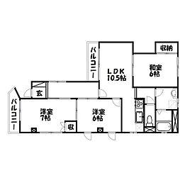 静岡県浜松市中区東伊場1丁目の賃貸マンションの間取り