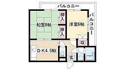 愛知県名古屋市天白区菅田3丁目の賃貸アパートの間取り