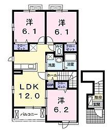 JR山陽本線 新井口駅 3.6kmの賃貸アパート 2階3LDKの間取り