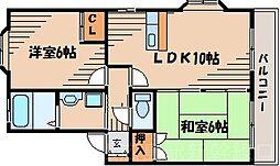 広島県広島市東区戸坂くるめ木2丁目の賃貸アパートの間取り
