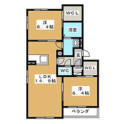 ハンプデンコートIII[2階]の間取り